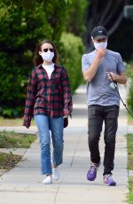 LILY COLLINS and Charlie McDowell Out with Her Dog in Beverly Hills 05/12/2020