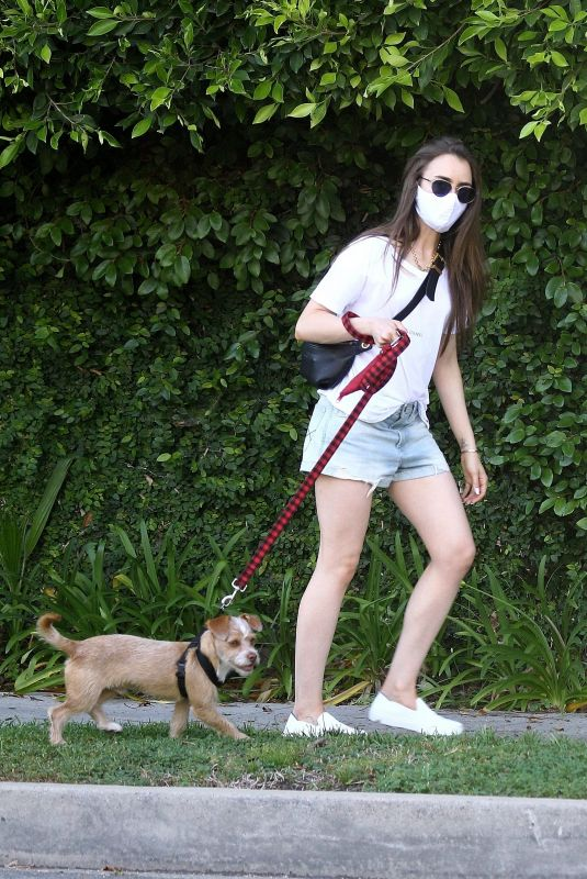 LILY COLLINS in Denim Shorts Out with Her Dog in Beverly Hills 05/08/2020