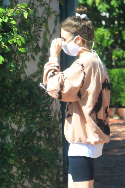 LILY COLLINS Wearing a Mask Outside Her House in Los Angeles 05/08/2020