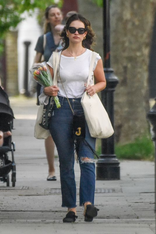 LILY JAMES Out and About in London 05/27/2020