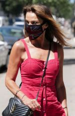 LIZZIE CUNDY in a Red Dress Wearing a Mask Out in London 05/22/2020