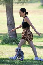 LUCY HALE Out with Elvis at a Park in Studio City 05/28/2020