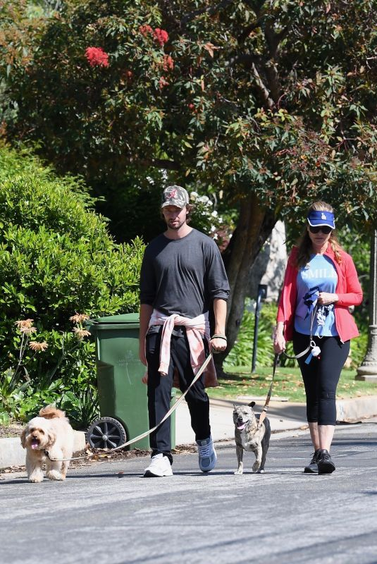 MARIA SHRIVER and Patrick Schwarzenegger Out with Their Dogs in Brentwood 05/10/2020