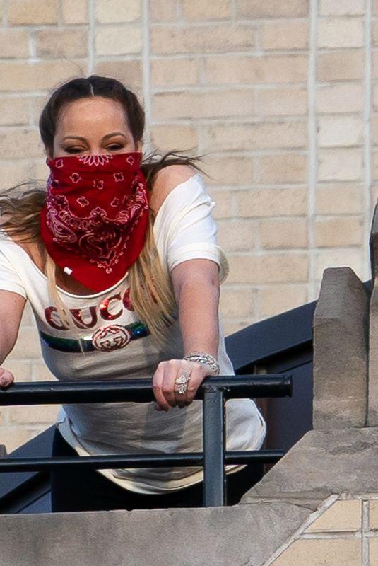 MARIAH CAREY on Her Balcony in New York 05/07/2020