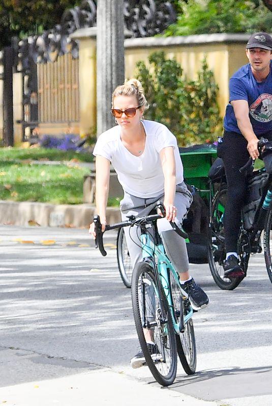 MIA GOTH and Shia Labeouf Out Riding Bikes in Pasadena 05/12/2020