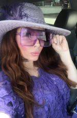 PHOEBE PRICE All in Purple Out with her Dog in Beverly Hills 05/18/2020