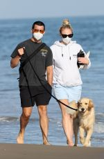 Pregnant SOPHIE TURNER and Joe Jonas Out with Their Dog at a Beach in Santa Barbara 05/25/2020