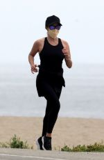 REESE WITHERSPOON Out Jogging on the Beach in Malibu 05/10/2020