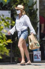 ROBIN WRIGHT in Denim Shorts Out Shopping in Pacific Palisades 05/15/2020