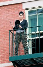 SARAH SILVERMAN on Her Fire Escape in New York 05/28/2020