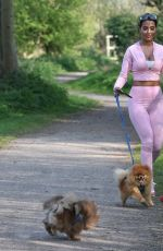 YAZMIN OUKHELLOU in Tights Out with Her Dogs in Essex 05/02/2020