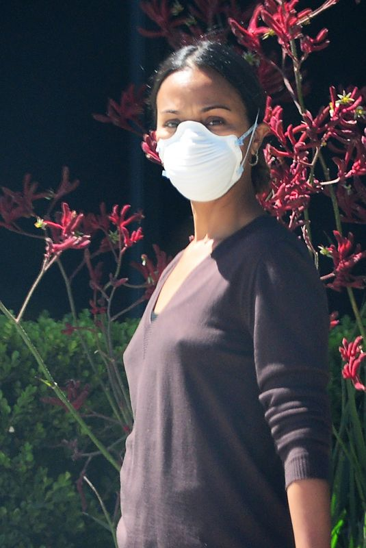 ZOE SALDANA Wearing Mask Out in Los Angeles 05/13/2020