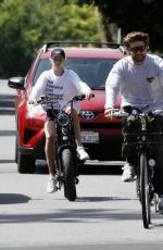 ABBY CHAMPION and Patrick Schwarzenegger Out Cycling in Santa Monica 06/19/2020