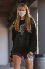 ABBY CHAMPION Wearing a Gucci Mask at Caffe Luxxe in Los Angeles 06/10/2020
