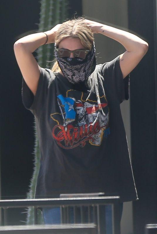 ASHLEY BENSON Wearing Banda Mask Out in West Hollywood 06/13/2020