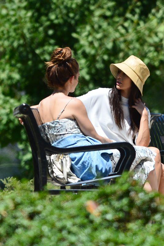 ASHLEY GREENE and CARA SANTANA at a Park in Beverly Hills 06/27/2020