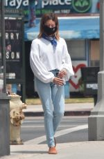 ASHLEY TISDALE in Denim Wearing a Mask Out in Los Angeles 06/17/2020