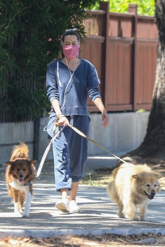 AUBREY PLAZA Out with Her Dogs in Los Feliz 06/14/2020