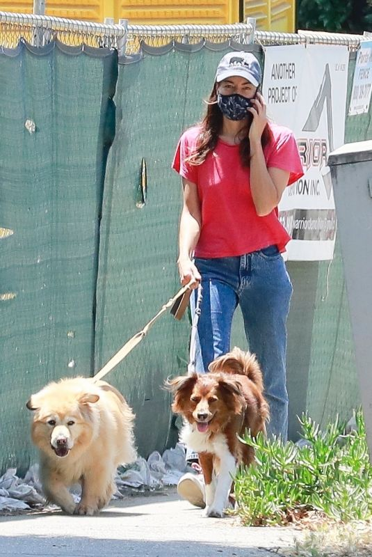 AUBREY PLAZA Out with Her Dogs in Los Feliz 06/21/2020