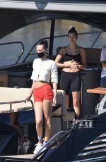 BELLA HADID and HAILEY BIEBER in Bikins at a Boat in Italy 06/23/2020