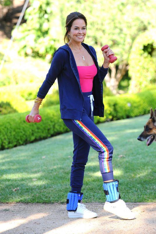BROOKE BURKE Workout in Her Front Yard in Malibu 06/15/2020