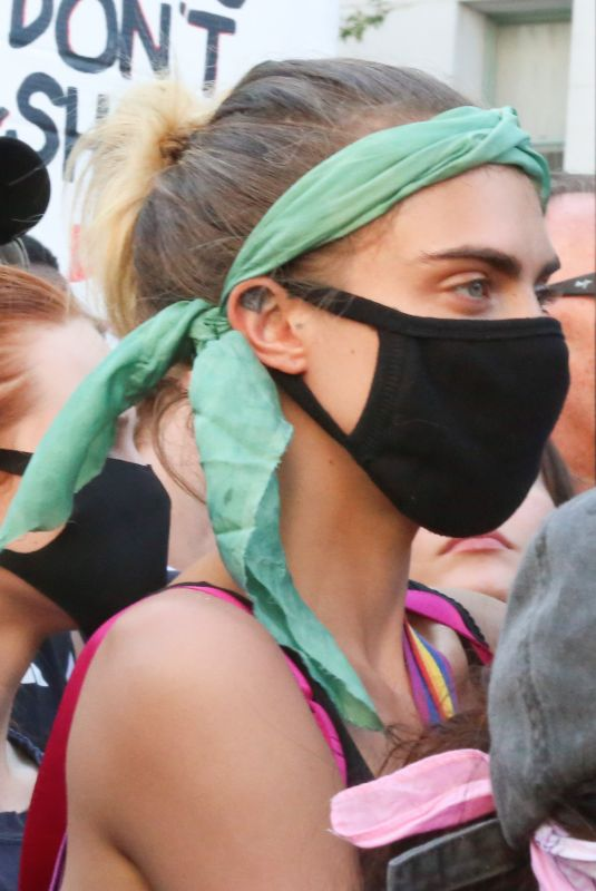 CARA DELEVINGNE and KAIA GERBER at Protest in Los Angeles 06/03/2020