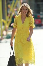 CHARLOTTE HAWKINS in  a Yellow Summer Dress Srrives at Classic FM in London 06/26/2020