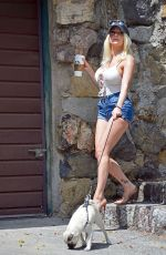 COURTNEY STODDEN in Denim Shorts Out with Her Dog in Hollywood 06/17/2020
