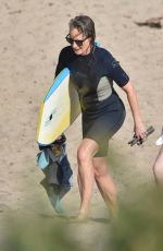 HELEN HUNT in Wetsuit at Bodyboarding Session in Malibu 06/26/2020