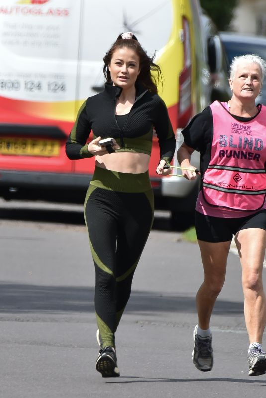JESS IMPIAZZI Out Jogging with Her Mum in Surrey 06/16/2020