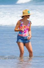 KATE HUDSON in Swimsuit and Denim Shorts Out on the Beach in Malibu 06/22/2020