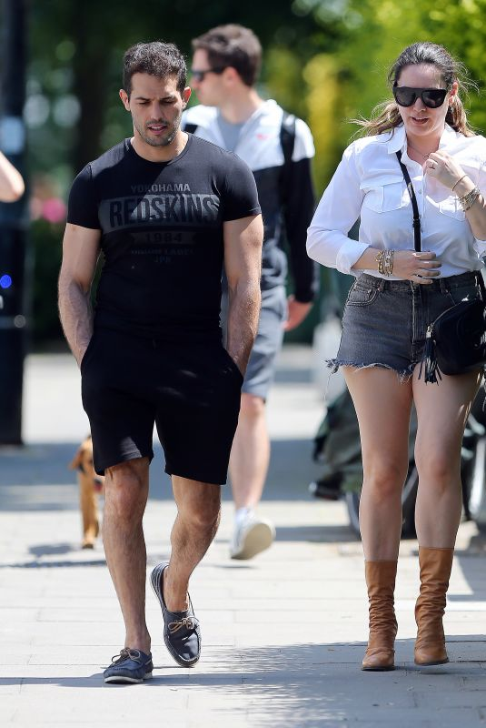 KELLY BROOK in Denim Shorts Out in London 05/31/2020