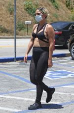 LADY GAGA in a Bikini Top Out for Coffee in Hollywood 05/30/2020