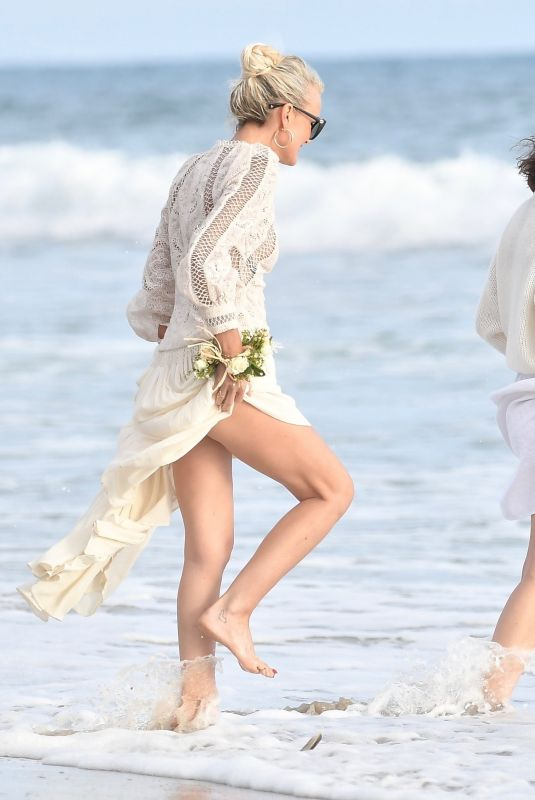 LAETICIA HALLYDAY Celebrates Johnny Hallyday's Birthday at a Beach in Malibu 06/15/2020