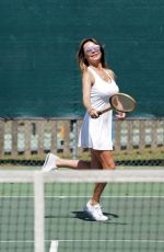 LIZZIE CUNDY Playing Tennis with a Friend in London 06/13/2020
