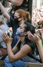 MADELAINE PETSCH and CAMILA MENDES at Black Lives Matter Protest in Los Angeles 06/03/2020