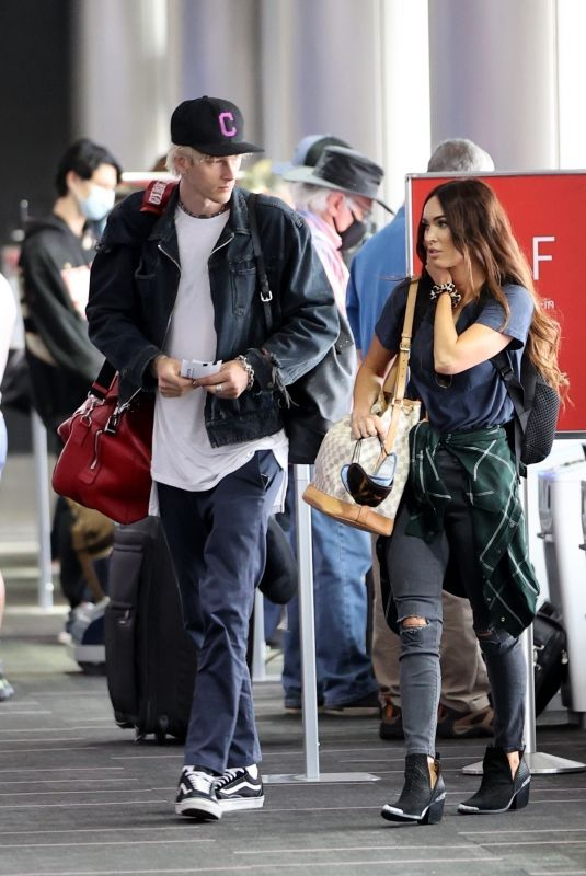 MEGAN FOX and Machine Gun Kelly at LAX Airport 06/29/2020