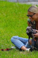 MICHELLE HUNZIKER Out with her Dogs in a Park in Bergamo 06/02/2020