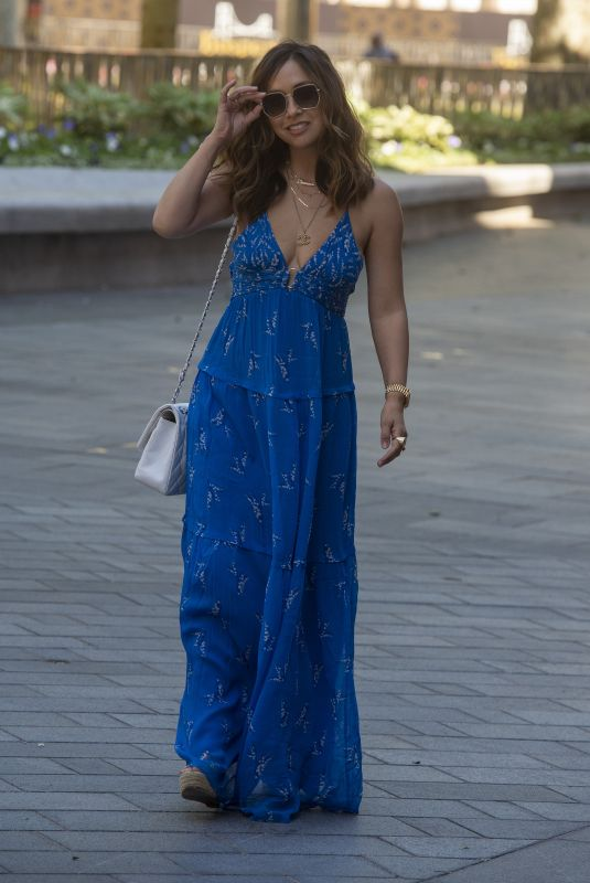 MYLEENE KLASS in a Long Blue Dress Arrives at Global Radio in London 06/01/2020