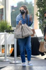 REBECCA GAYHEART in Denim Overalls at Shake Shack in Los Angeles 06/19/2020