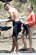 ROBIN WRIGHT and Clement Giraudet Surfing in Malibu 06/12/2020