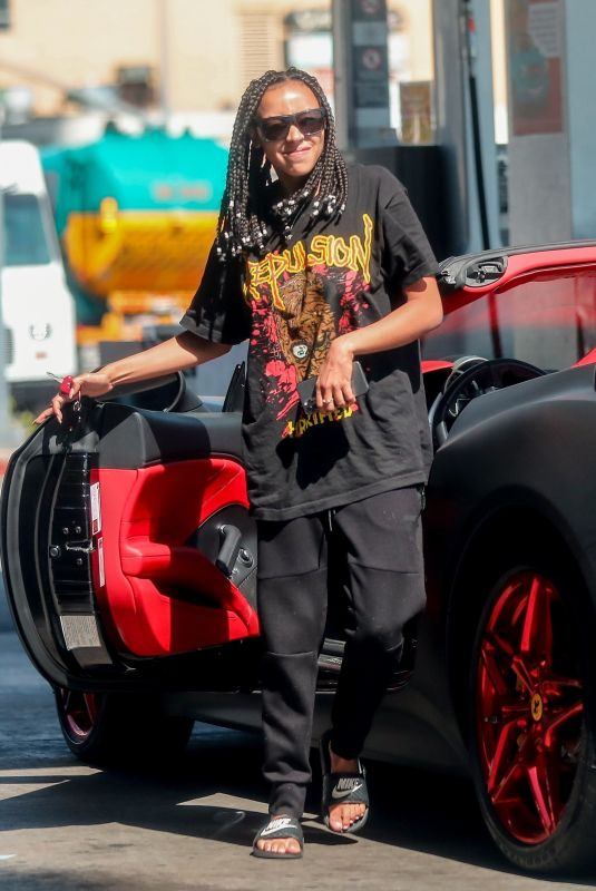 TINASHE Driving Her Ferrari Out in Beverly Hills 06/18/2020