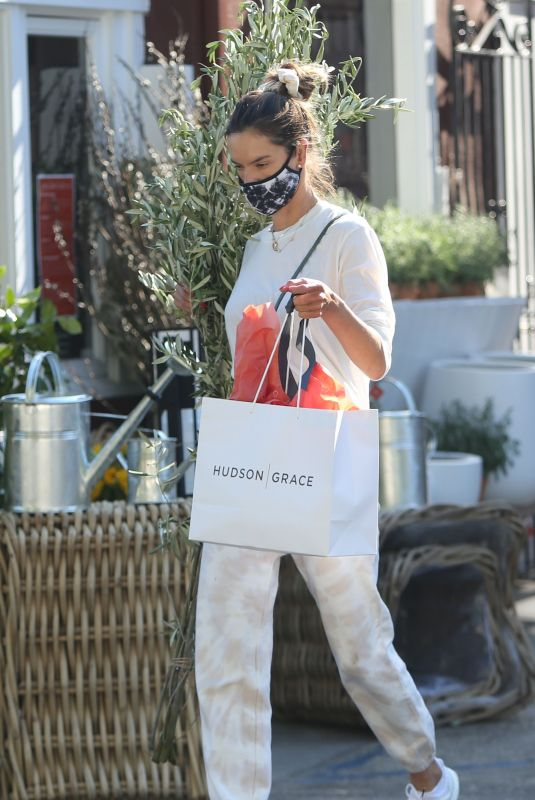 ALESSANDRA AMBROSIO Leaves a Flower Store in Brentwood 07/23/2020