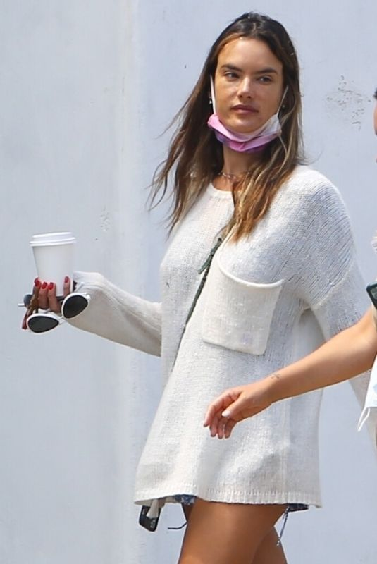ALESSANDRA AMBROSIO Out for Coffee in Brentwood 07/21/2020