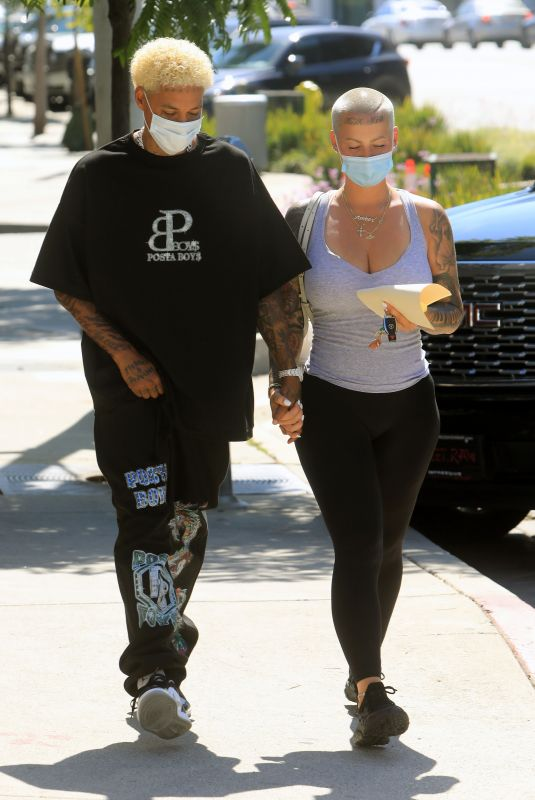 AMBER ROSE and Alexander Edwards Out in West Hollywood 07/13/2020
