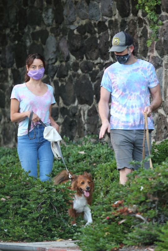 AUBREY PLAZA and Jeff Baena Out with Their Dogs in Los Angeles 07/14/2020