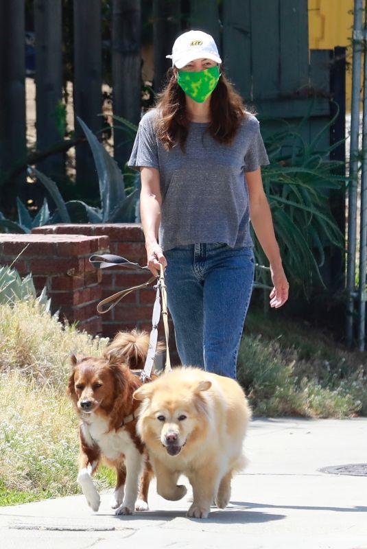 AUBREY PLAZA Waks Her Dogs Out in Los Feliz 07/25/2020