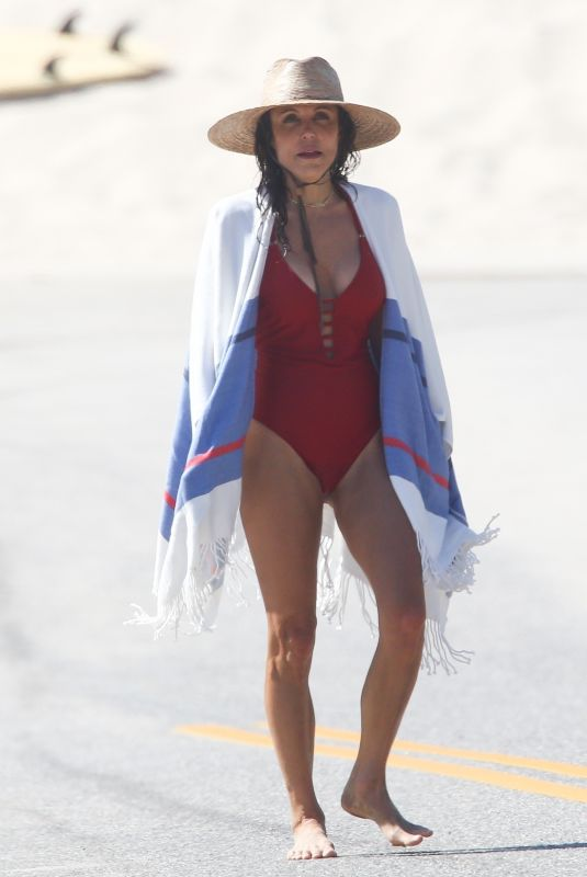 BETHENNY FRANKEL in a Red Swimsuit at a Beach in Hamptons 07/29/2020