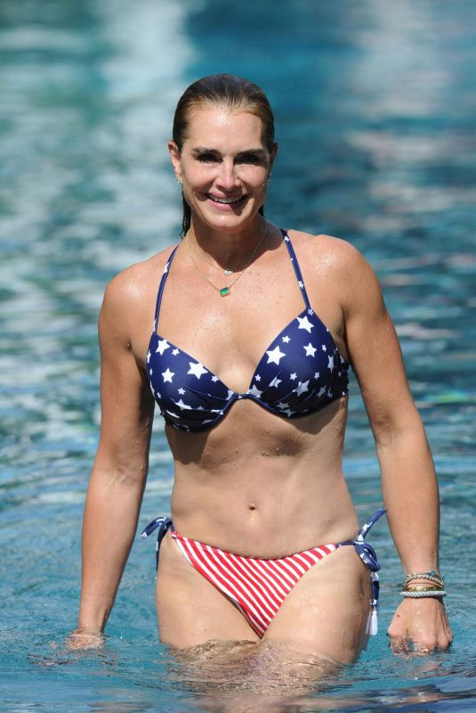BROOKE SHIELDS in Bikini at Pool at Her Home in The Hamptons 07/06/2020