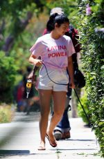 CAMILA MENDES in Shorts Out with Her Dog in Los Angeles 07/02/2020